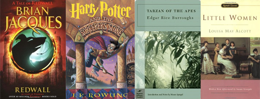 Redwall, Harry Potter and the Sorcerer's Stone, Tarzan of the Apes, Little Women