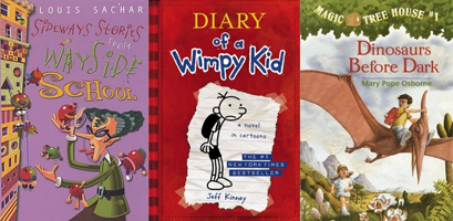 Sideways Stories from Wayside School, Diary of a Wimpy Kid, Dinosaurs Before Dark