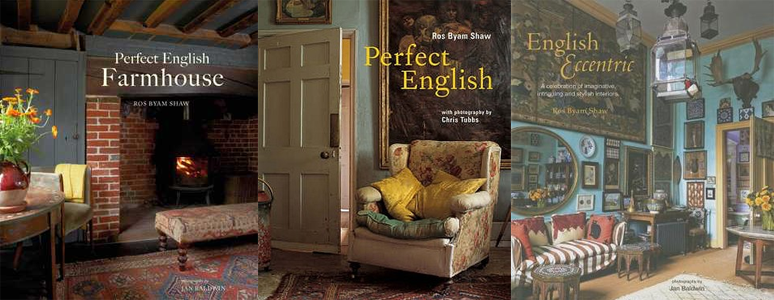 Covers of Perfect English Farmhouse, Perfect English, and English Eccentric by Ros Byam Shaw