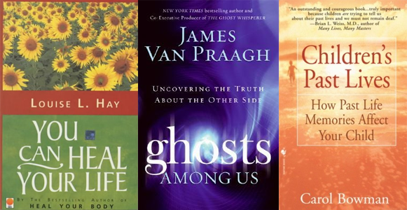 Book covers: You Can Heal Your Life; Ghosts Among Us; and Children's Past Lives